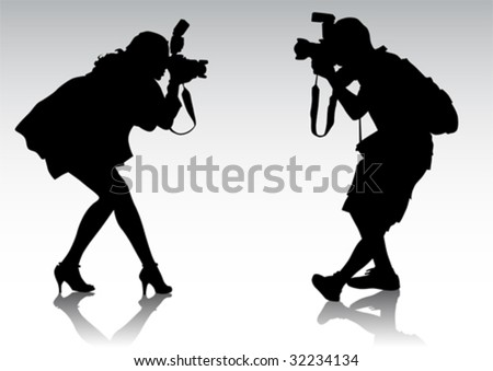Vector graphic silhouettes of people. Men and women are photographed - stock vector