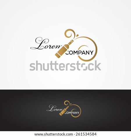 Vector graphic silver and gold winery sign with wine bottle symbol and sample text - stock vector