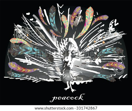 Vector graphic stylized image of peacock on black background