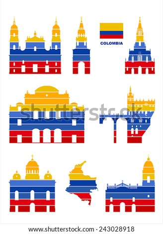 Vector graphic symbols of Colombia.  - stock vector
