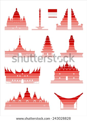 Vector graphic symbols of Indonesia. - stock vector