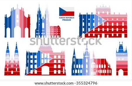 Vector Graphic Symbols Prague Czech Republic Stock Vector 355324796