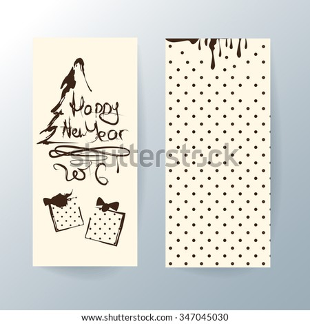 Vector graphic templates for New Year's greeting cards or packaging design in retro style. Hand drawn illustration and brown text Happy New Year on beige background, - stock vector