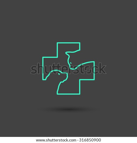 Vector graphic vet icon with a cat and a dog in a cross in minimal style, line symbols in negative color - stock vector