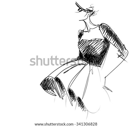 VECTOR    graphic with beautiful young   girl model for design. Fashion, style, youth,   beauty,  . Graphic, sketch drawing. Sexy woman - stock vector