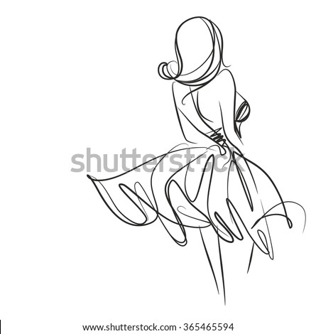 VECTOR    graphic with beautiful young   girl model for design. Fashion, style, youth,   beauty,  . Graphic, sketch drawing. Sexy woman. dress.