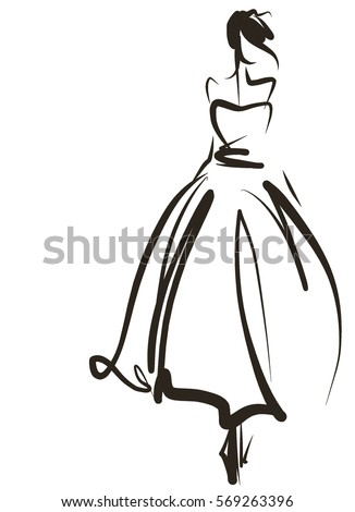 vector graphic beautiful young girl model stock vector