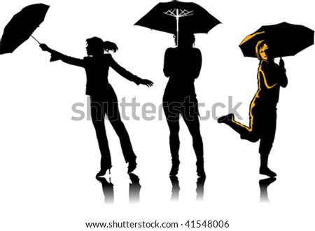 Vector graphic woman with umbrellas;