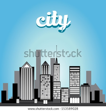 vector graphical urban cityscape. vector day city illustration. - stock vector