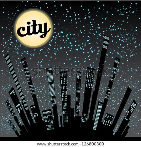 vector graphical urban cityscape. vector night city illustration. - stock vector
