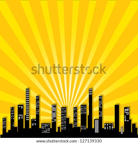 vector graphical urban cityscape. vector orange city illustration. - stock vector
