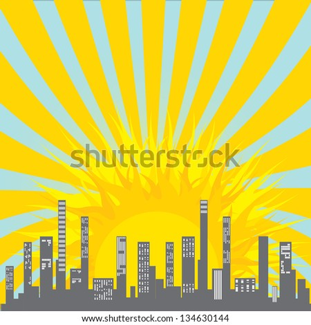 vector graphical urban cityscape. vector summer city with sun. sunny day in city with good weather and clean sky. - stock vector