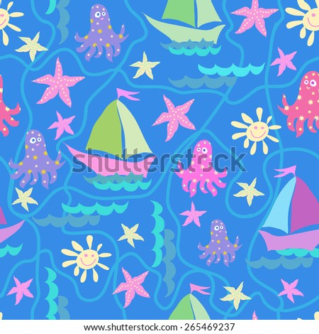Vector graphics, artistic, stylized  seamless pattern on the theme of the sea with a ship, octopus and sun. original print can be used for fabric design, wallpaper, wrapping papers.