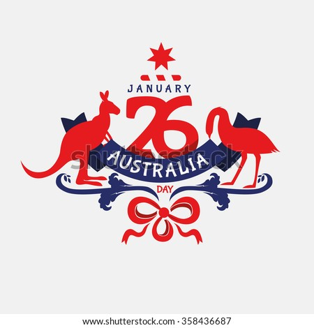 vector graphics illustration national holiday Australia Day on January 26 for the graphic design