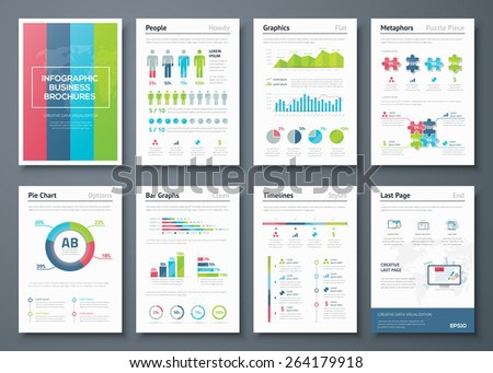 Vector graphics in infographic business brochure illustration. Vector illustrations of modern info graphics. Use in website, flyer, corporate report, presentation, advertising, marketing etc. - stock vector
