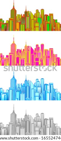 Vector graphics of the city. Available in 4 colors. - stock vector