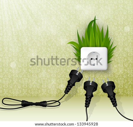 vector grass plug - stock vector