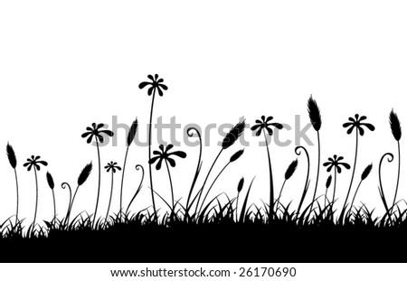 Vector grass silhouette - stock vector