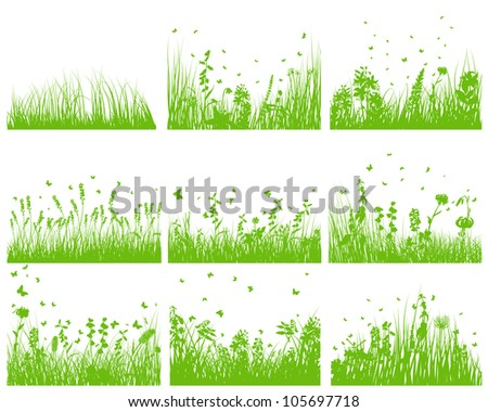 Vector grass silhouette background set. All objects are separated. - stock vector