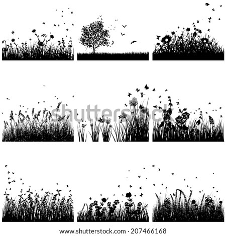 Vector grass silhouette set. All objects are separated. - stock vector