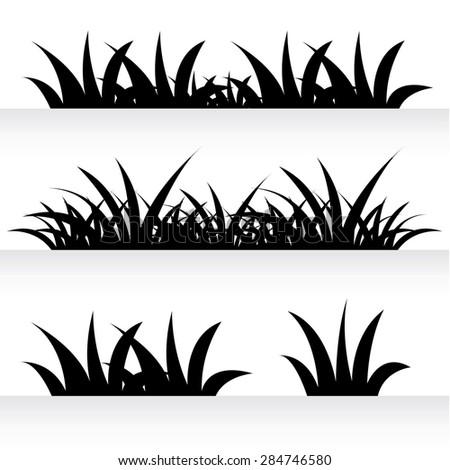 Grass Outline Vector Vector Grass Silhouett...