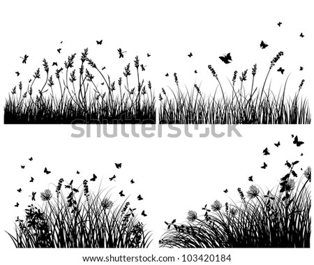 Vector grass silhouettes background set. All objects are separated.