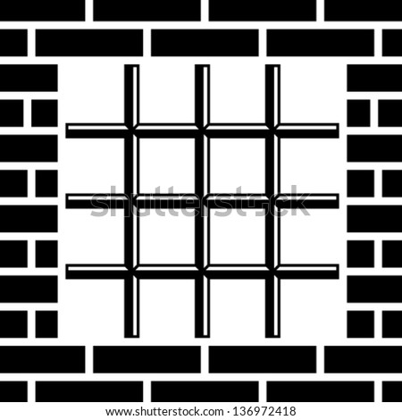 vector grate prison window black symbol - stock vector