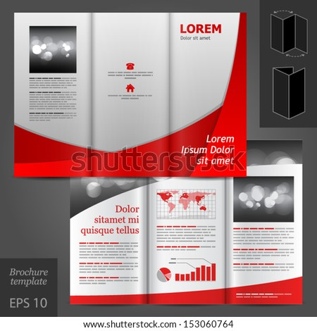 Vector Red Brochure Template Design White Stock Vector 132574670 ...