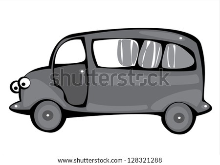vector gray cartoon hearse isolated on white background