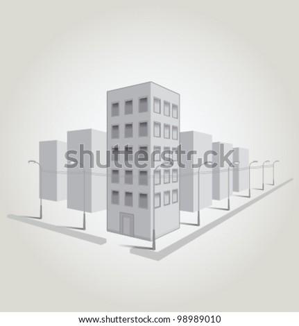 Vector gray city light poles wires - stock vector