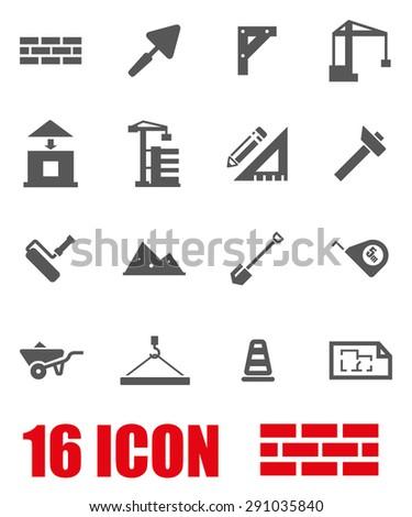 Vector gray construction icon set. Construction Icon Object, Construction Icon Picture, Construction Icon Image, Construction Icon Graphic - stock vector - stock vector