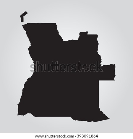 Vector gray map Angola. Grey on gradient background. Isolated vector Illustration. Black on Gradient background. EPS Illustration. - stock vector
