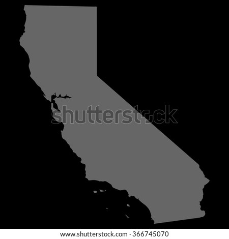Vector gray map California. Gray on black background. EPS Illustration. - stock vector