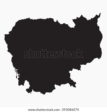 Vector gray map Cambodia. Isolated vector Illustration. Black on Grey background. EPS Illustration. - stock vector