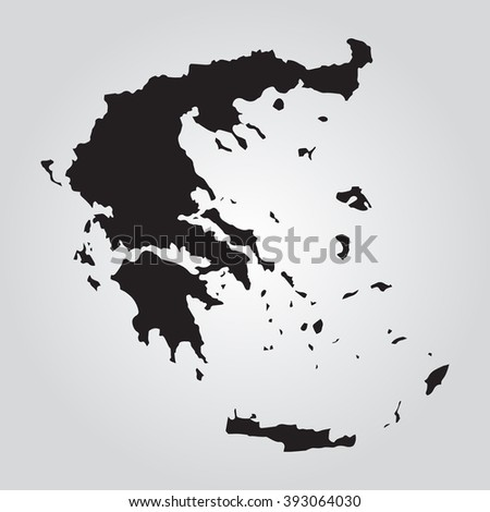 Vector gray map Greece. Grey on gradient background. Isolated vector Illustration. Black on Gradient background. EPS Illustration. - stock vector