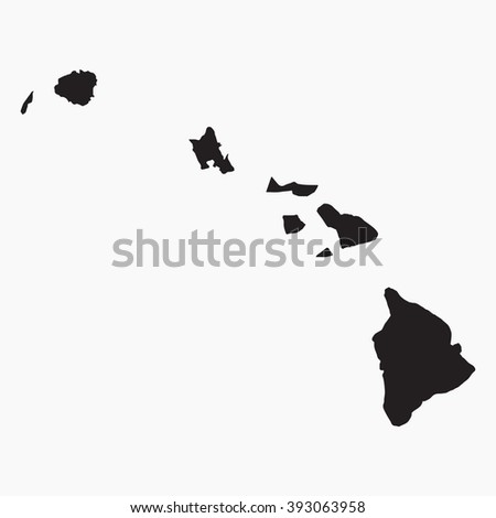 Vector gray map Hawaii. Isolated vector Illustration. Black on Grey background. EPS Illustration.