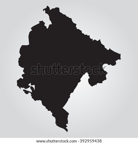 Vector gray map Montenegro. Grey on gradient background. Isolated vector Illustration. Black on Gradient background. EPS Illustration. - stock vector