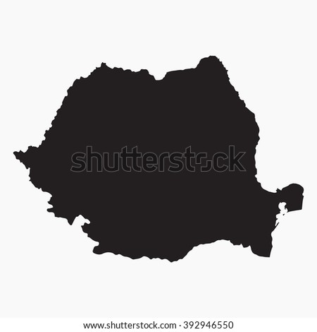Vector gray map Romania. Isolated vector Illustration. Black on Grey background. EPS Illustration. - stock vector