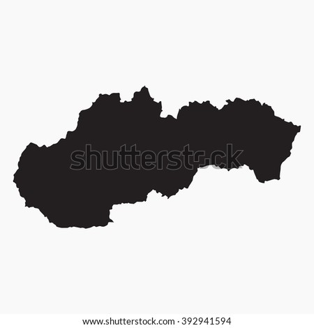 Vector gray map Slovakia. Isolated vector Illustration. Black on Grey background. EPS Illustration.