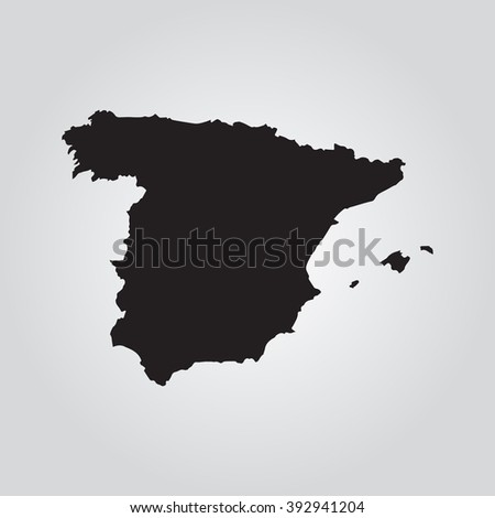 Vector gray map Spain. Grey on gradient background. Isolated vector Illustration. Black on Gradient background. EPS Illustration. - stock vector
