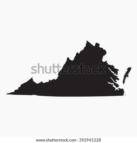 Vector gray map Virginia. Isolated vector Illustration. Black on Grey background. EPS Illustration. - stock vector