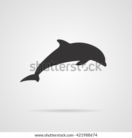 Vector Gray Silhouette of Dolphin - stock vector