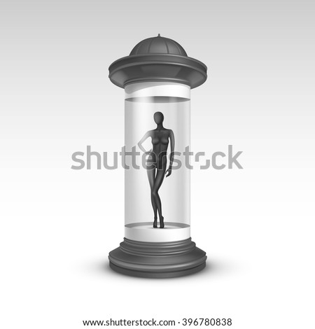 Vector Gray Transparent Poster Stand Pillar for Outdoor Advertising with Black Female Mannequin in it on Isolated White Background - stock vector