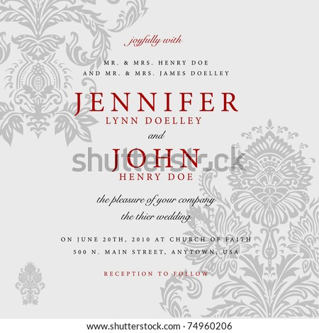 Vector Gray Victorian Background with Red Accent. Easy to edit. Perfect for invitations or announcements.