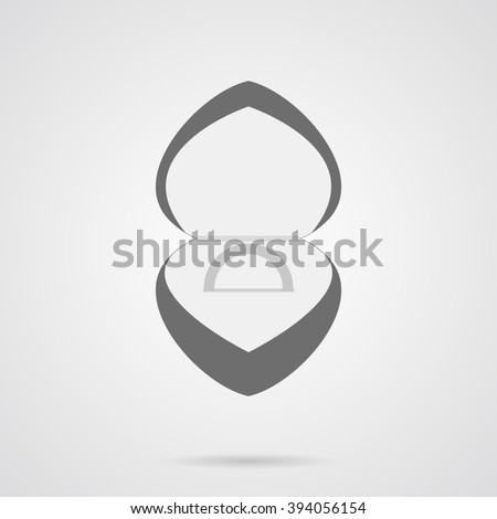 Vector Gray Wedding Ring in Box Flat Icon over light gray background. Simple element for your wedding designs, wedding business projects, logo, web and other your projects - stock vector