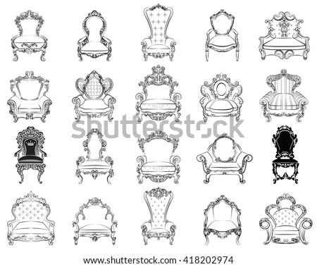 Vector great collection of Baroque style armchairs furniture. Big Vector set of Antique Royal furniture. different rich detailed ornamented armchairs  - stock vector