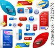 Vector great collection of sale elements. Free coupon and sticker set. - stock vector