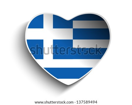 Vector - Greece Flag Heart Paper Sticker - stock vector