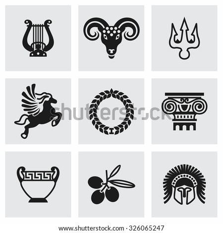 Vector Greece icon set on grey background