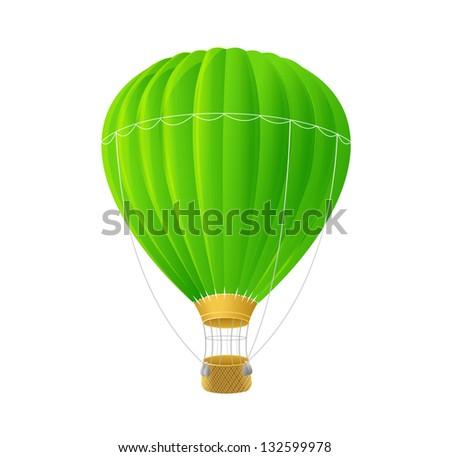 Vector green air ballon isolated on white - stock vector